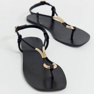 ASOS Black and Gold Sandals Sz. 9W
